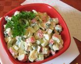 Рецепт салата с сыром, огурцами и крабовыми палочками